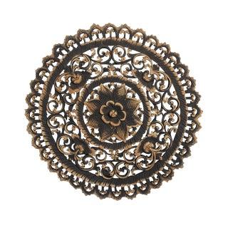 """Antique Burn Carved Medallion Panel 24"""""""