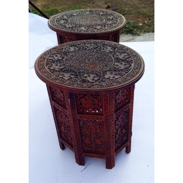 Anglo-Indian Rosewood Elaborately Carved Tables - Pair - Image 5 of 6