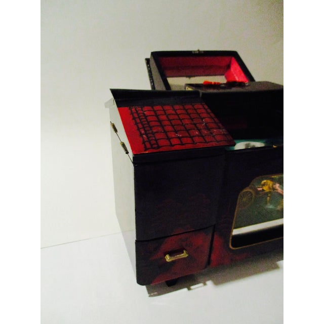 Asian Black Lacquer Jewelry Music Box - Image 8 of 11