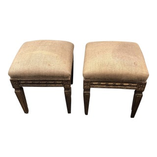 Gilded Neoclassical French Accent Stools - a Pair
