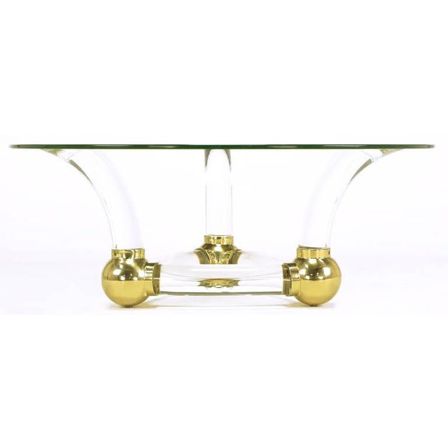 Image of Round Coffee Table With Thick Curved Lucite & Brass Ball Base