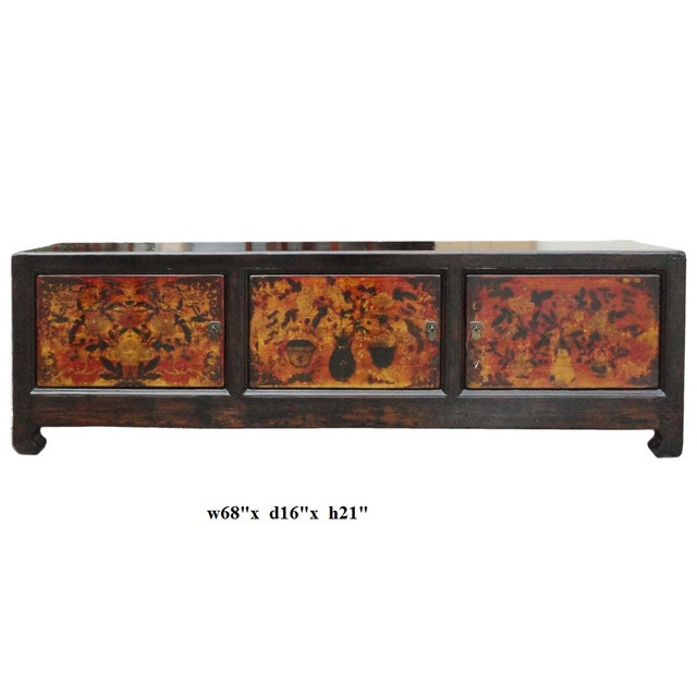 Chinese Vintage Low Graphic Tv Console Cabinet - Image 6 of 6