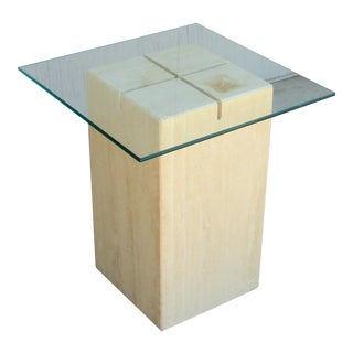 Artedi Travertine and Beveled Glass Side Table