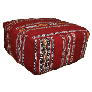 Handmade Striped Moroccan Berber Pouf