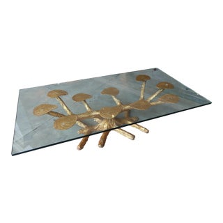 Metal Faux Bois 1960s Coffee Table with Gold Leaves and Glass Top