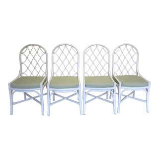 Hollywood Regency Bamboo Dining Chairs - Set of 4