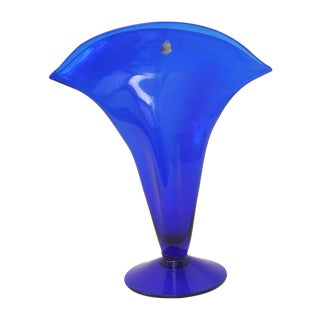 Blenko Blue Glass Fan Vase