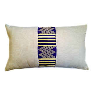Vintage Linen African Kente Cloth Lumbar Pillow