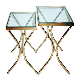 Brass Faux Bamboo Nesting Tables - A Pair