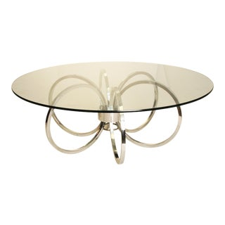 """Mid-Century Modern Chrome & Glass """"Rings"""" Coffee Table"""