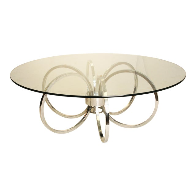"Mid-Century Modern Chrome & Glass ""Rings"" Coffee Table"