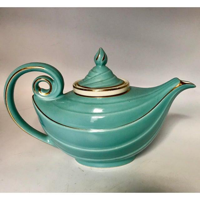 1950s Hall Tiffany Blue & Gold Aladdin's Lamp Teapot - Image 10 of 10