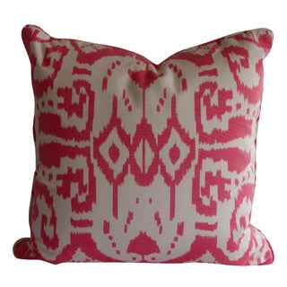 Quadrille Pink & White Ikat Pillow