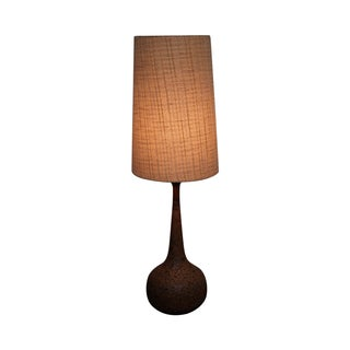Mid-Century Modern Cork/Teak Table Lamp & Shade