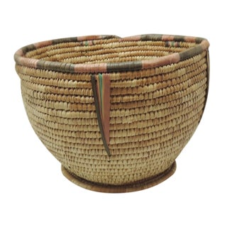 Vintage Round Indian Tribal Basket