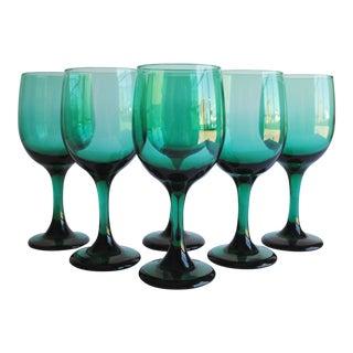 Dark Green Wine Glasses, Set of 6