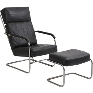 Art Deco Style Chrome and Leather Chair + Ottoman