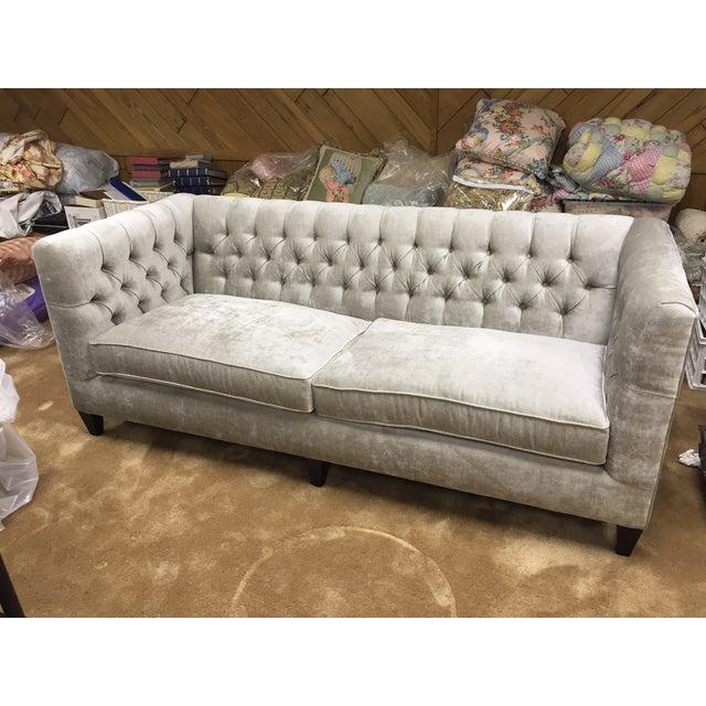 Grey Velvet Tuxedo Sofa - Image 4 of 6