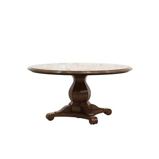 Round Wood Dining Table With Star Medallion Inlay