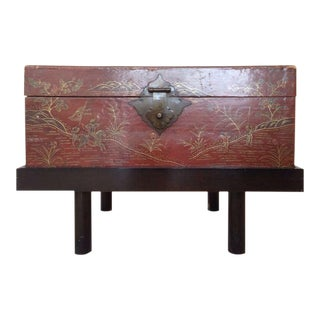 Antique Chinese Red Lacquer Wood Chest Raised on a Carved Wood Stand