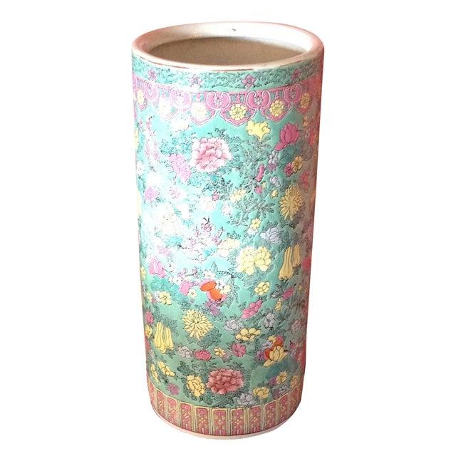 Image of Vintage Porcelain Chinoiserie Umbrella Holder