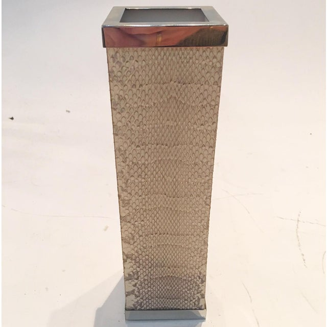 Image of Beige Snakeskin and Chrome Vase