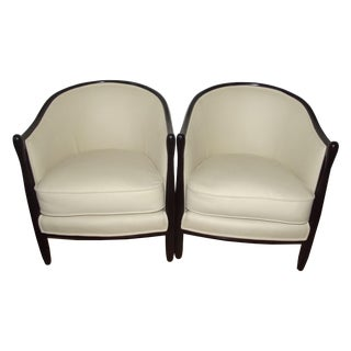 French Art Deco Barrel Back Bergeres - A Pair