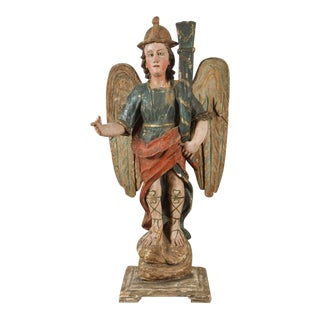 Large, 18th Century Angel Candlesticks