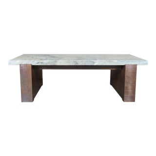 Copper Cocktail Table with Stone Top