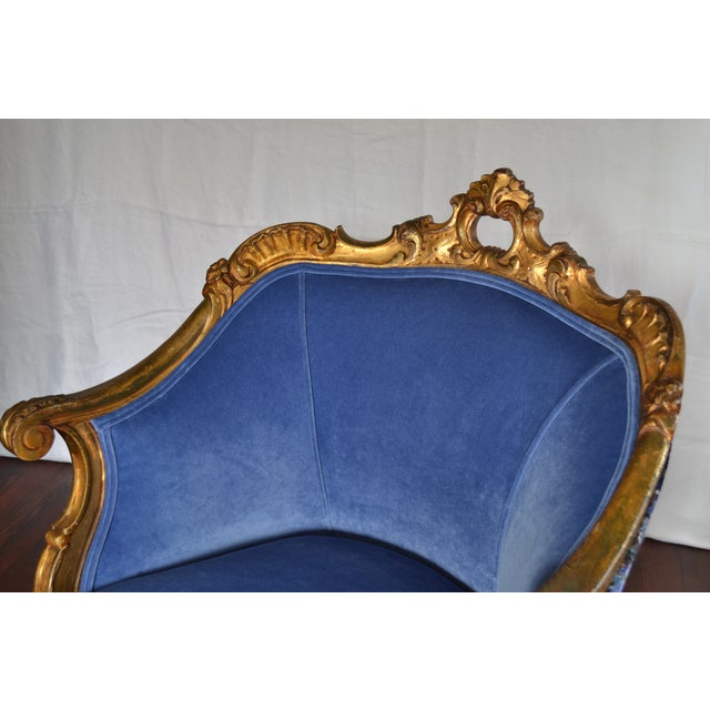 Antique French Gilded Louis XV Upholstered Cabriole Chair - Image 6 of 9