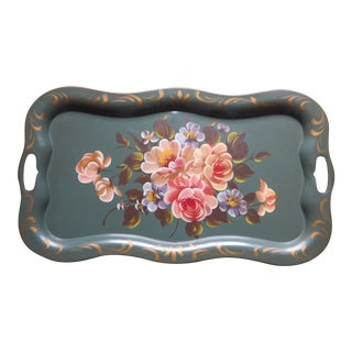 Vintage Floral Green Tole Tray