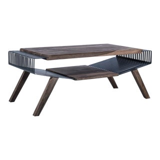 Solid Wood & Perforated Steel Coffee Table