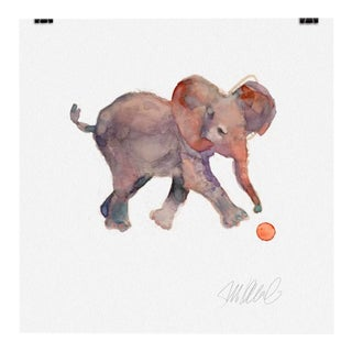 Premium Giclee Print of Baby Elephant and Ball