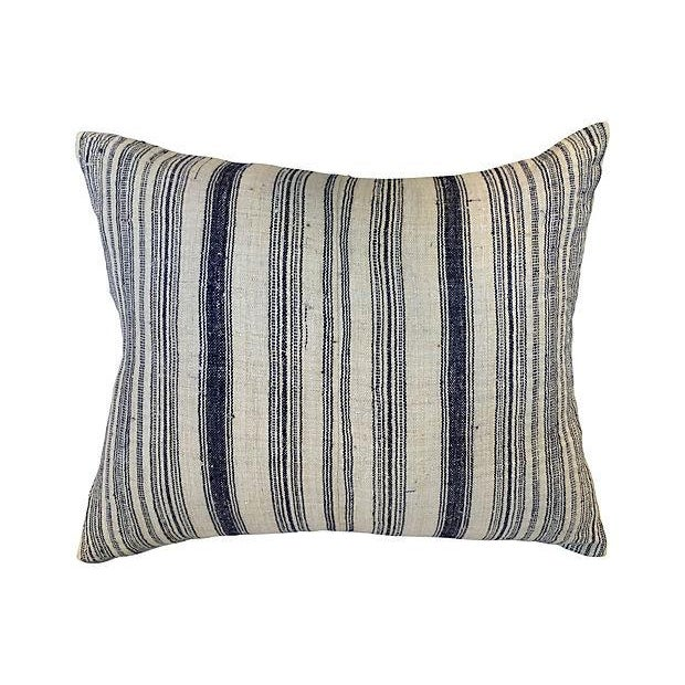 Image of Nubby Homespun Striped Linen Pillow