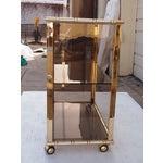 Image of Mid-Century Italian Gilt & Smoked Glass Bar Cart