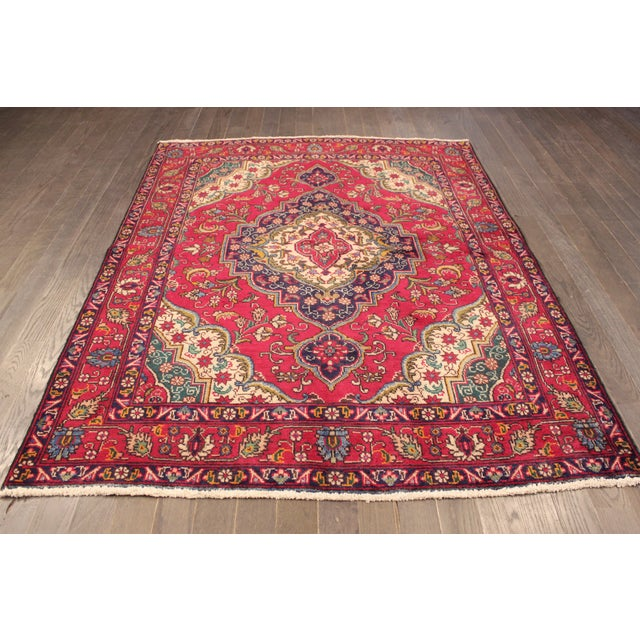"Vintage Red & Blue Persian Rug - 4'8"" X 6'3"" - Image 2 of 4"