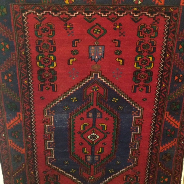 Vintage Blue and Red Persian Rug - 3′12″ × 6′2″ - Image 5 of 5