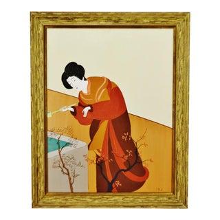 Vintage Framed Geisha Oil Painting