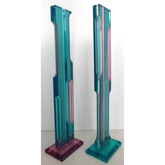 Image of Mid Century Lucite Sculptures - Pair