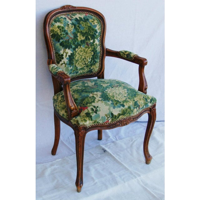 Scalamandre Marly Velvet Tapestry Fabric Walnut Armchair - Image 6 of 11