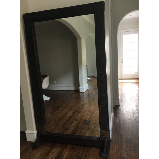 Hand carved wood framed floor mirror chairish for Framed floor mirror
