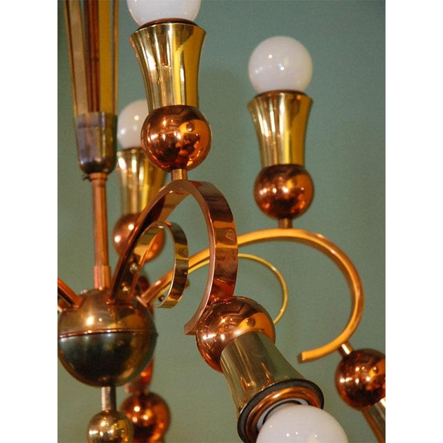 Brass and Copper Chandelier - Image 7 of 10