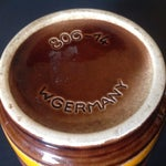 Image of Red & Yellow Mid-Century German Pottery Vase
