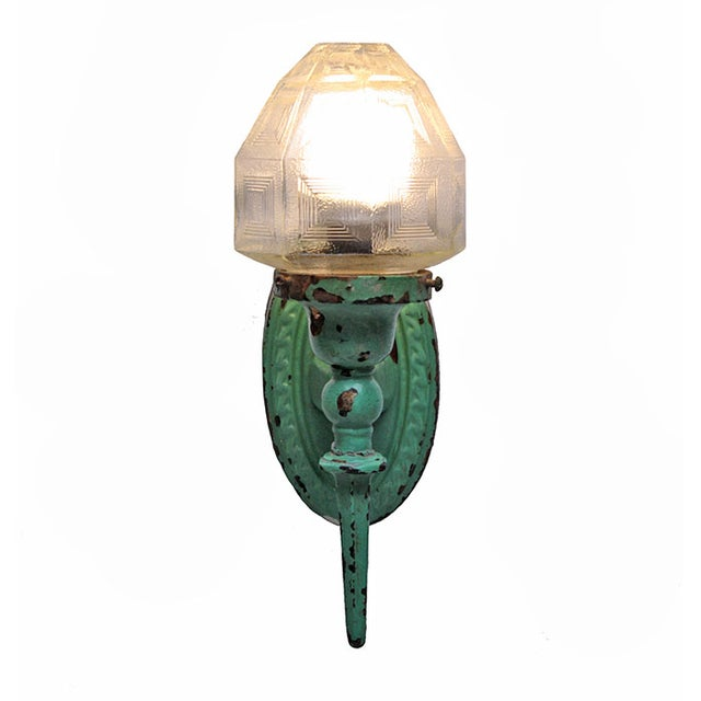 Image of Vintage Green Cast Iron Exterior Sconce