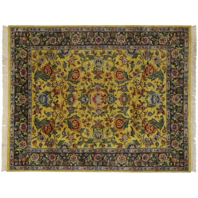 """Vintage Traditional Style Yellow Area Rug - 7'10"""" x 9'9"""" - Image 5 of 5"""