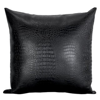 Black Croc Faux Leather Decorative Pillows - 2