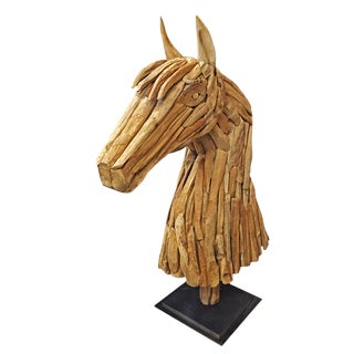 Salvaged Wood Horse Head Sculpture