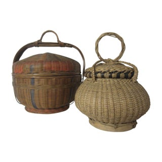Vintage Covered Baskets - Two