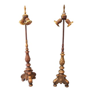Pair of Vintage Early 20th Century French Brass Candlestick Lamps