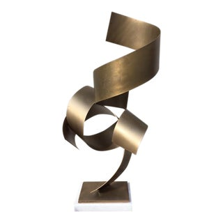 Modern Brass Ribbon Sculpture on Marble Base